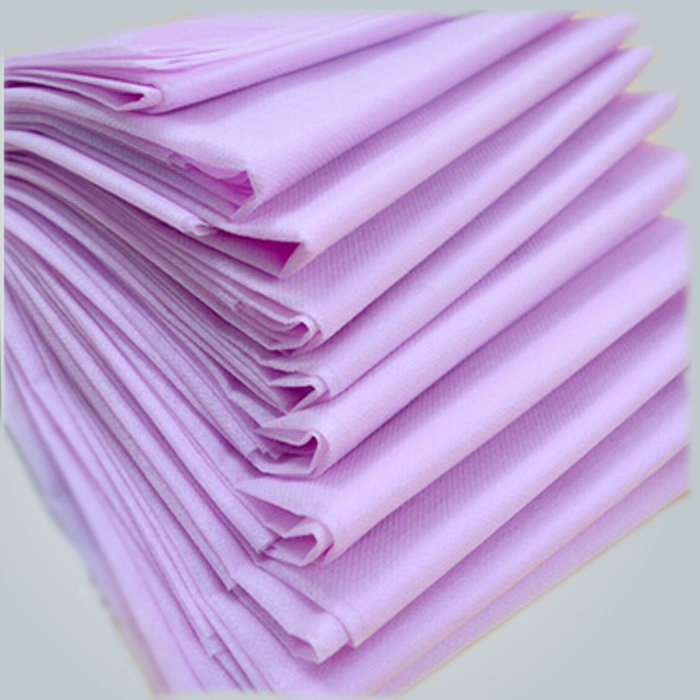 No Stimulation Purple PP Spunbond Non woven Disposable Bed Sheet 40 GSM