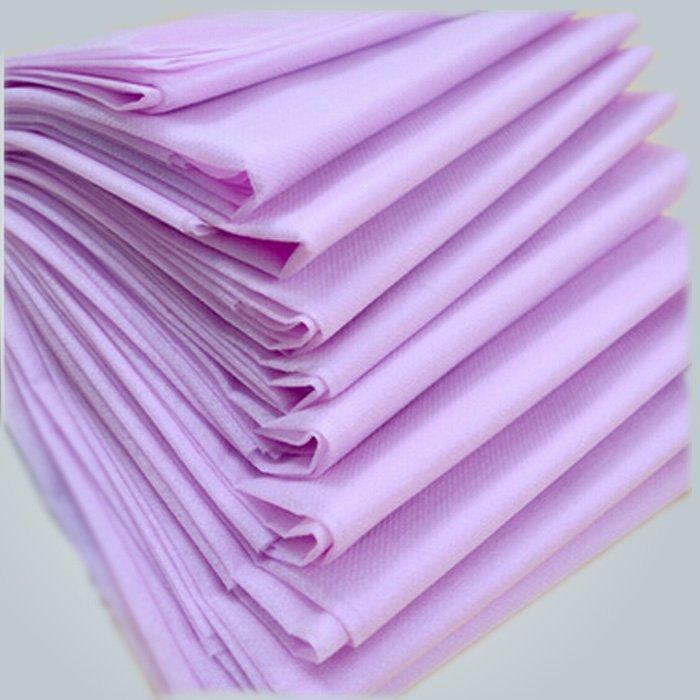 No Stimulation Purple PP Spunbond Non woven Disposable Bed Sheet 40 GSM