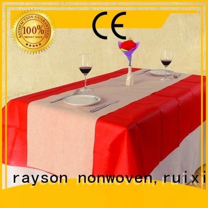 rayson nonwoven,ruixin,enviro Brand oval textile 1mx1m non woven tablecloth direct