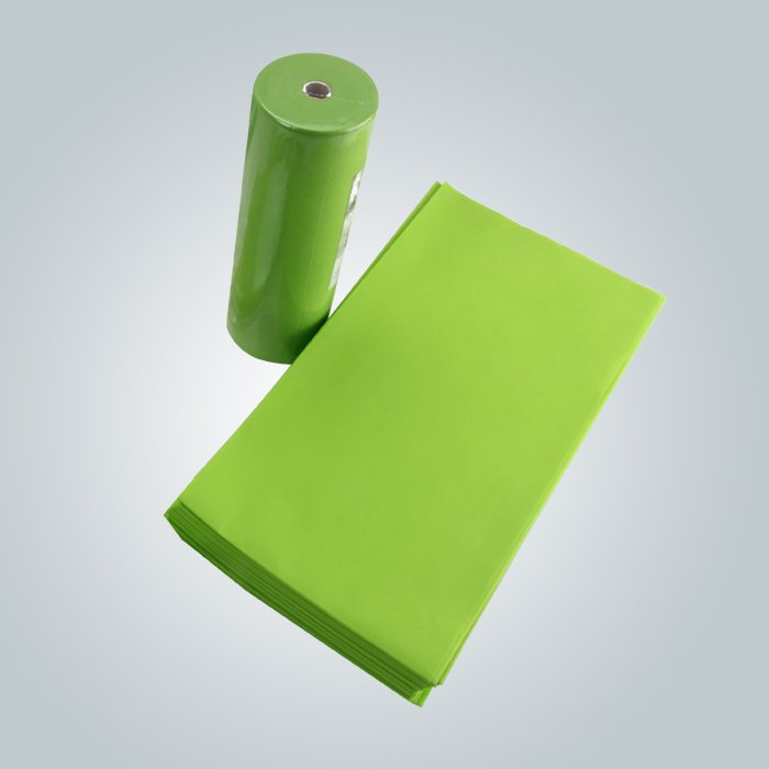 Light Green Pink Color Easy Carry TNT Disposable Bedsheet Packing In Roll Or Pieces