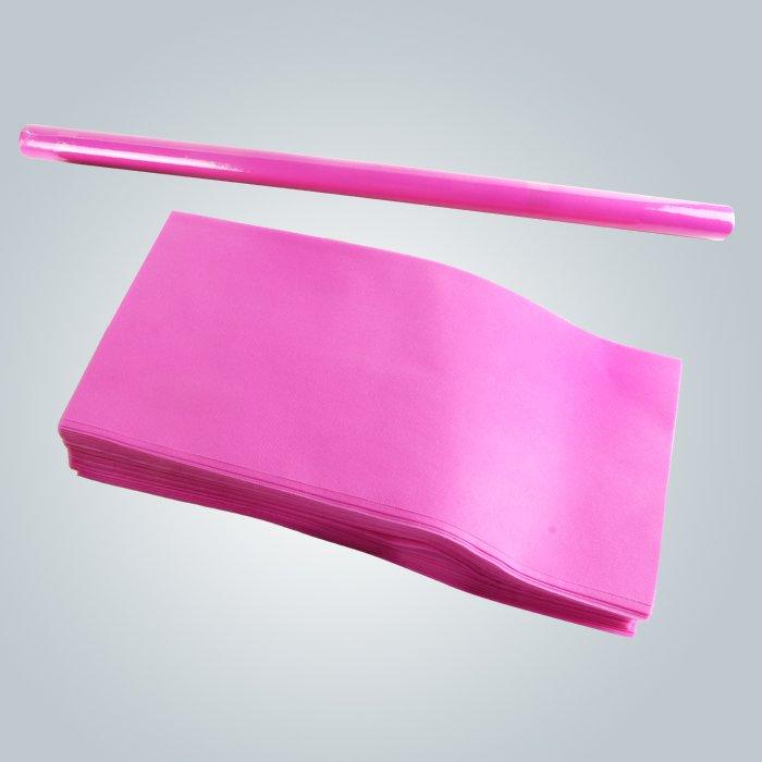 Couleur rose vert clair facile transporter TNT jetable drap emballage en rouleau ou en morceaux