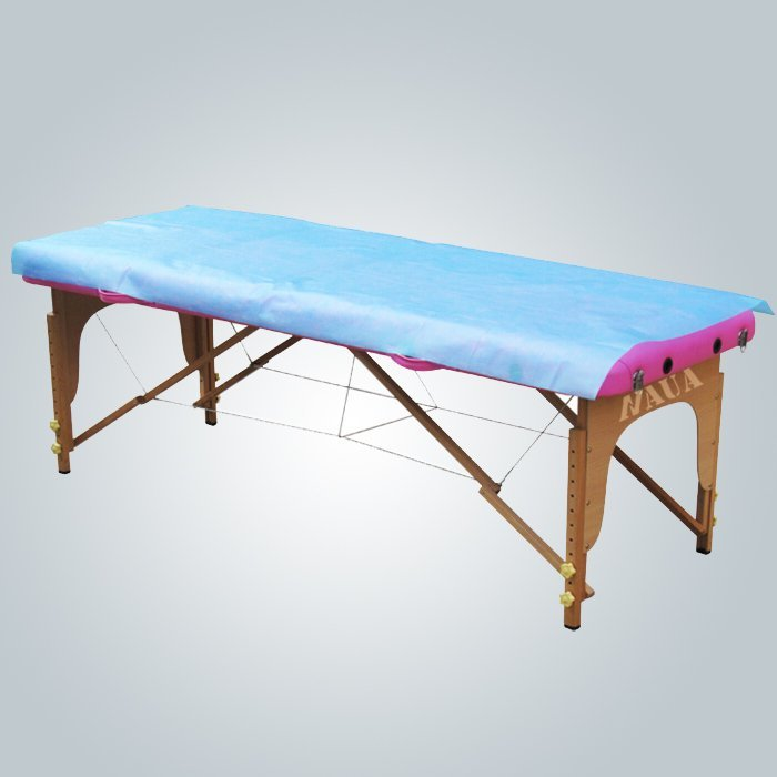 Pink Color Disposable Non-woven Flat Bedsheet Waterproof PE Coated Nonwoven