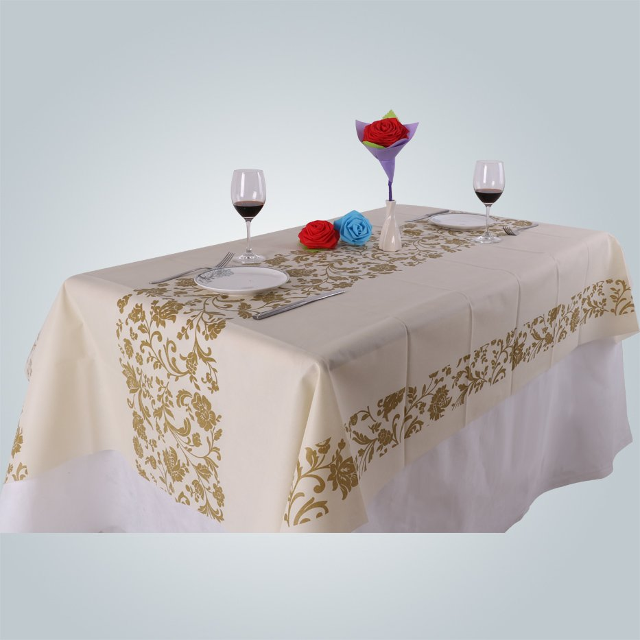 Elegant design printed non woven table cloth disposable material