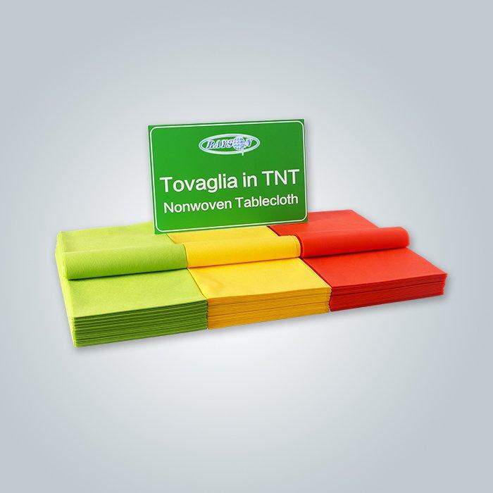 レッド/グリーン/イエローカラー100%PPスパンボンド素材の不織プレカットテーブルカバーファブリック