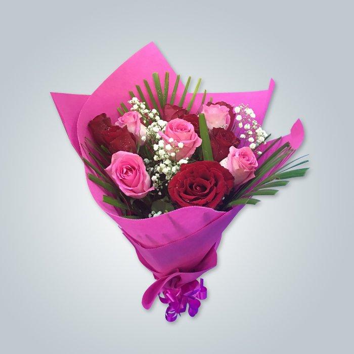 Fournisseur de fleurs chinoises en emballage de fleurs non tissé en petits rouleaux