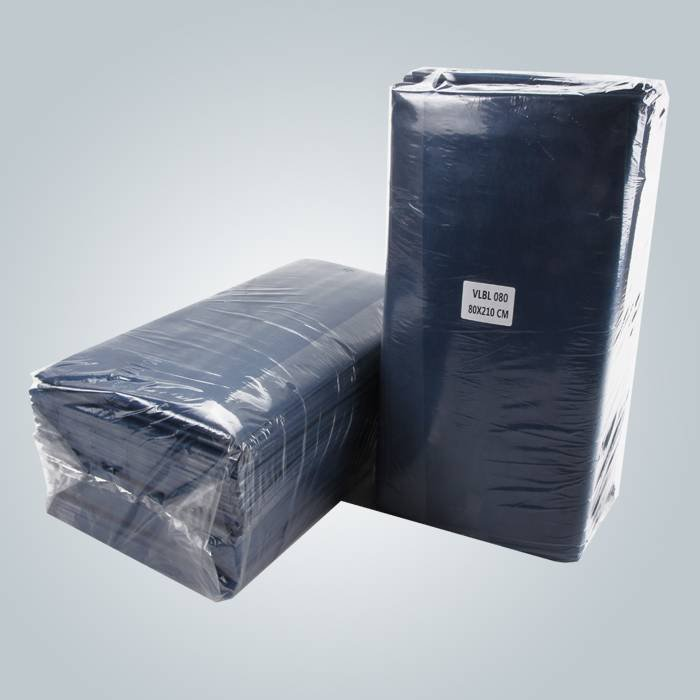 Dark Blue Color Laminated Non Woven Paper Bedsheet For Massage