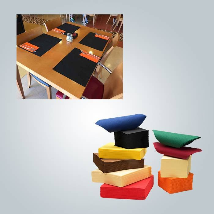 Food grade non woven placemat in red / yellow / black