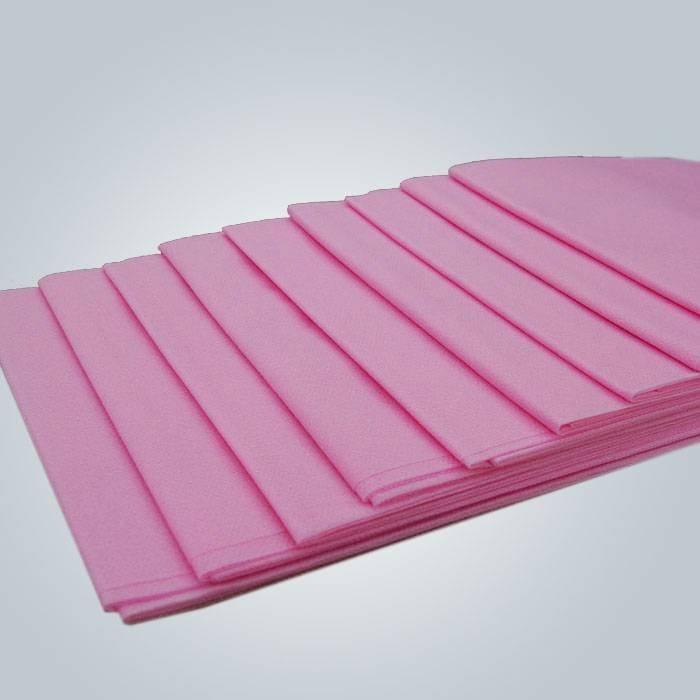 ピンク色使い捨て不織布フラットベッドシート防水PEコーティング不織布